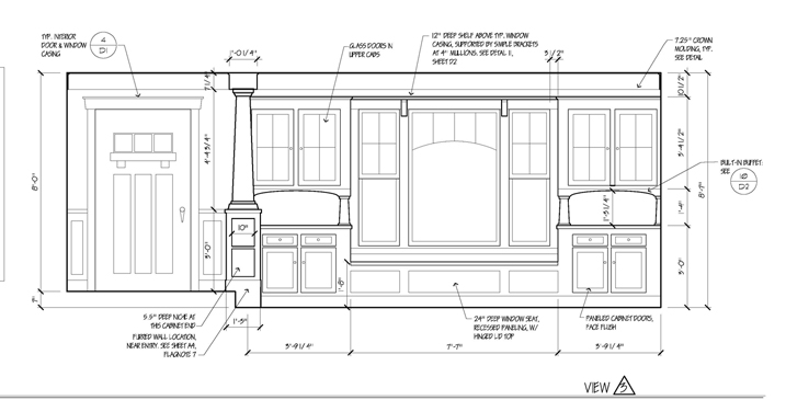 Plan elevation and section drawing 2 interior design for Dining room elevation