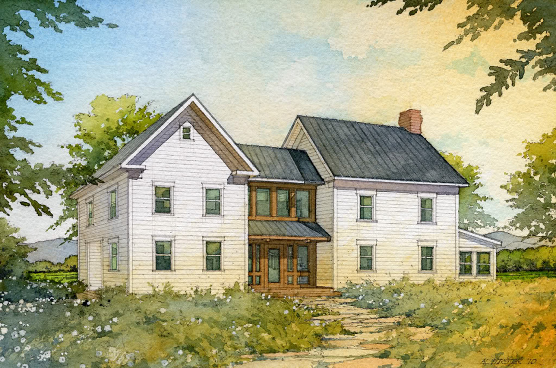 Madson design house plans gallery american homestead for Traditional farmhouse